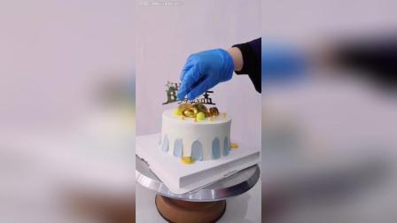 6寸奶油水果蛋糕, 巧克力装饰!
