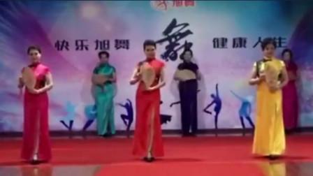中老年模特培训晨韵优雅旗袍模特表演折扇组合