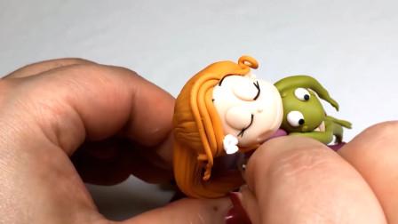 手工泥塑制作卡通形象,青蛙王子与公主