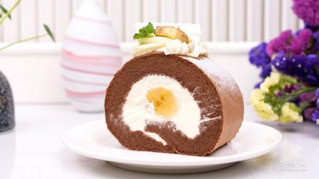 西点培训学习巧克力香蕉卷蛋糕,这种大香蕉你没见过吧~