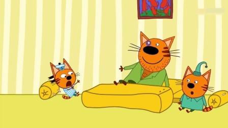 咪好一家:马芬伯伯带布丁和饼干跳沙发,沙发被跳坏掉了!