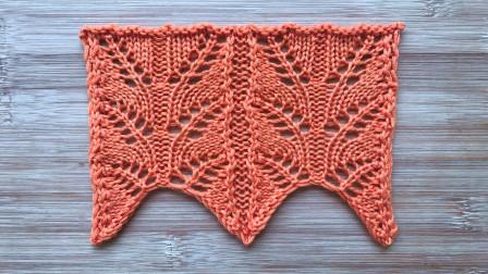 棒针编织的双叶子花,简洁唯美,织衣服和围巾真好看好看又简单