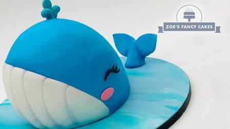 卡通蓝鲸蛋糕制作过程,颜值高又可爱,你会舍得吃吗?