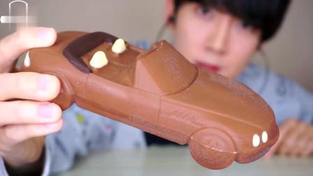 韩国小哥哥的冷冻汽车巧克力的实况吃播,嘎嘣脆