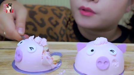 小猪造型的创意蛋糕,看起来萌萌的好可爱,网友:猪年大吉