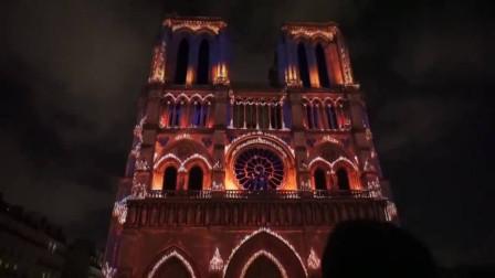 巴黎圣母院灯光音乐展,玫瑰花窗是灵魂,人类的瑰宝