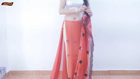 印度少女橘粉色裙装,好美啊!