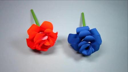 简单又漂亮的玫瑰花折纸,纸花的折法,DIY手工制作玫瑰