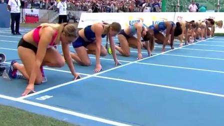 女子100米跨栏,黑人选手好猛,几个白人都干不过她