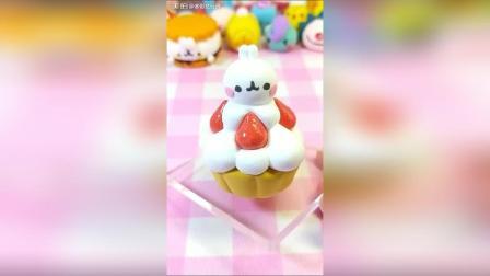 超轻粘土食玩教程: 土豆兔草莓蛋糕