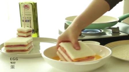 上班族快速早餐!自己做火腿芝士三明治,营养又好吃!