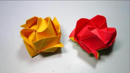 手工折纸玫瑰花,一张纸折川崎玫瑰,简单花朵折纸教程