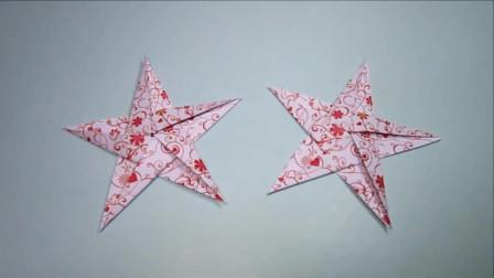 一张纸4分钟折纸五角星,简单的五角星手工折纸教程