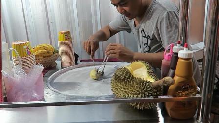 泰国网红小吃榴莲炒冰激凌,好新鲜的榴莲,看到我肚子好饿