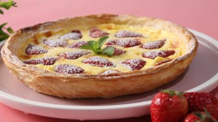 2张手抓饼,一盘草莓,2个鸡蛋,教你草莓派新做法,收藏起来