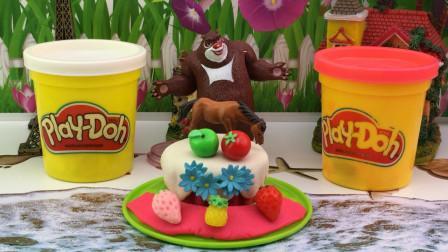 快乐宝贝熊出没玩具 培乐多彩泥玩具,熊大制作DIY彩泥蛋糕