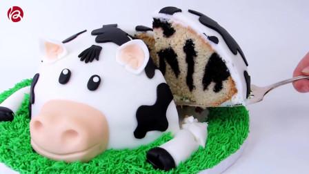 卡通动物形象翻糖蛋糕,切开里面有惊喜哦