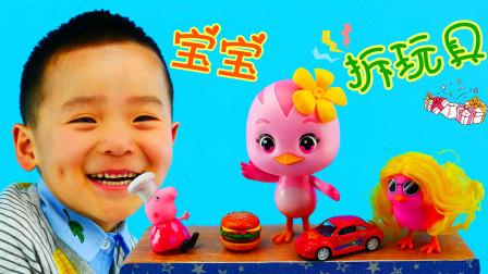 宝宝和朵朵萌鸡拆玩具惊喜箱