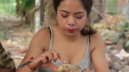 柬埔寨农村女子,拿来一条大牛尾,看看她是什么吃法