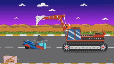 小骷髅头挖掘机不怀好意挖了个陷阱,结果卡车掉了进去!游戏