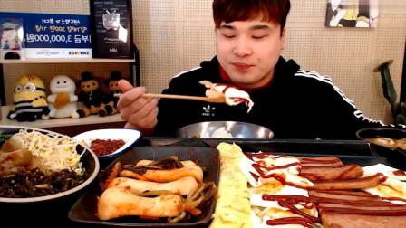 韩国大胃王Donkey,吃一桌子的美食,家里有矿啊天天这么造