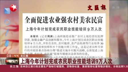 视频|文汇报: 上海今年计划完成农民职业技能培训9万人次