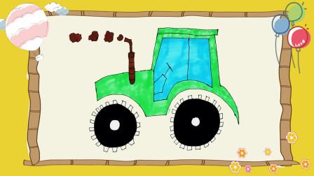 男孩玩具工程车简笔画,车轮超大的农用拖拉机。