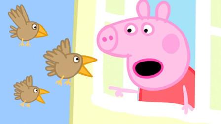 小猪佩奇打开窗户发现了三只小鸟 简笔画