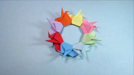 儿童手工折纸花环,简单又漂亮的千纸鹤花环的折法,创意手工制作