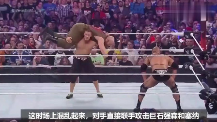 WWE:巨石强森六秒ko白羊,下起狠手眼都不眨一下!