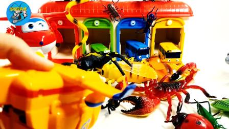 超级飞侠和动物昆虫小汽车玩具,大红虾蚂蚱黑蜘蛛,儿童玩具亲子互动