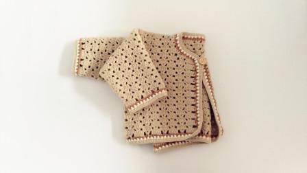 第三集袖子编织手工钩针婴儿卡其毛线单扣开衫编织教程花样