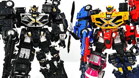 迷你特工队黑色版5合一组合机甲变形金刚击败恐龙玩具过家家