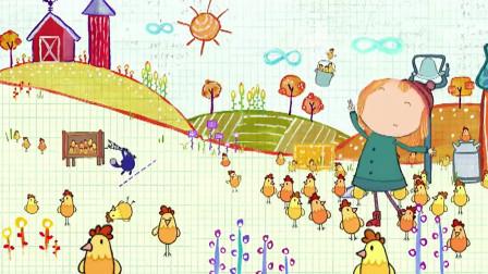 佩格和小猫:小鸡们到处跑,佩格还挺开心,这么多小鸡可怎么办啊