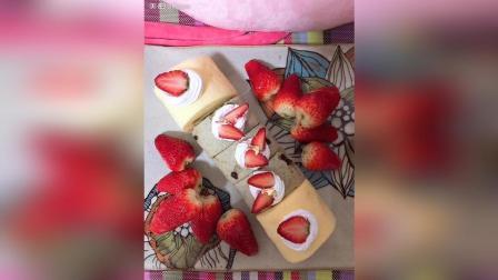 草莓裸蛋糕+抹茶红豆金箔卷