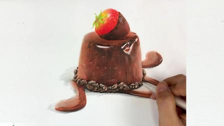 彩铅教你画一块巧克力草莓蛋糕 彩铅画示范画法教程全过程 彩铅基础课程 简单易学轻松上手