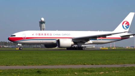 实拍中国货运航空波音777F起飞