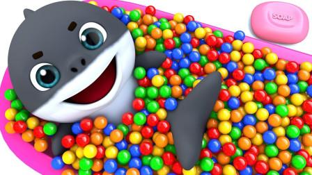 启蒙英语动画:小海豚在巧克力豆游泳池里游泳 好开心呀