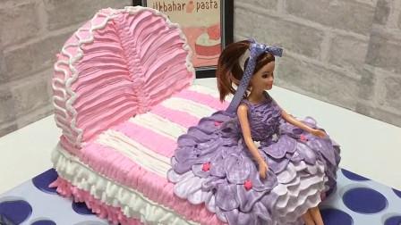 超美的芭比娃娃公主床原来是个大蛋糕?教你轻松制作,周末在家试试吧