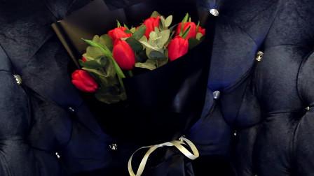 红玫瑰花束包装教程~韩式黑色包装