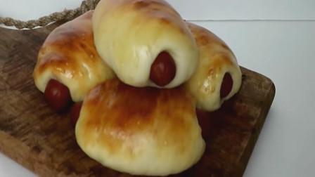 「烘焙教程」免揉肠仔包,香肠面包最简单做法