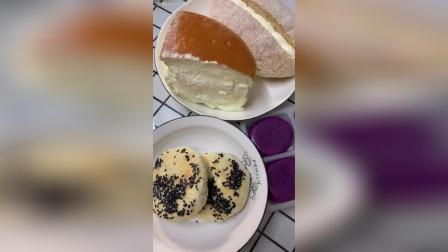 奶酪包、椰丝奶油面包、紫薯团、椒盐芝麻酥