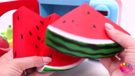 儿童趣味学习切水果蔬菜,并学习名字微波西瓜什锦玩具