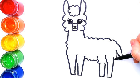画一只可爱的羊驼,画画填色
