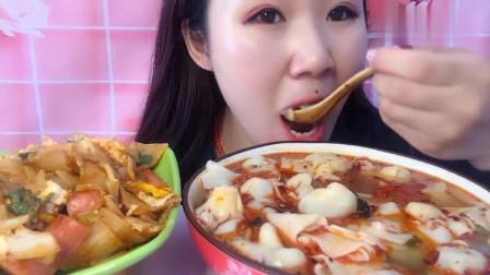 大胃王吃播:妹子端这么大一碗馄饨吃得太过瘾了,看着都很馋啊!