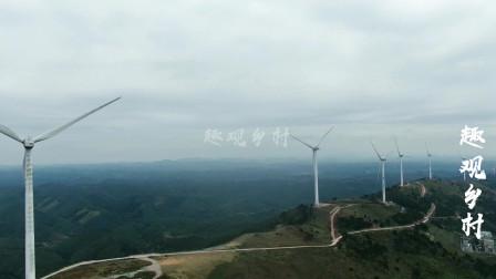 航拍广西南宁横县六景镇霞义山风电场大风车,山顶的风光太美了