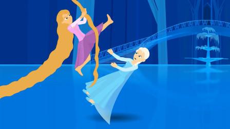 """冰雪女王""""大战""""长发公主,最后两人冰释前嫌一起堆雪人了!"""