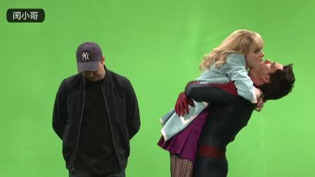 蜘蛛侠拍摄现场,蜘蛛侠与女友忘情拥吻,旁边的大叔内心是崩溃的