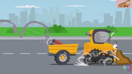 吸铁石的力量是无穷的,连挖掘机都吸起来了!汽车总动员游戏