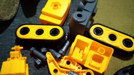 周大瓜玩抓木机工程车拼装积木玩具 手动diy工程车